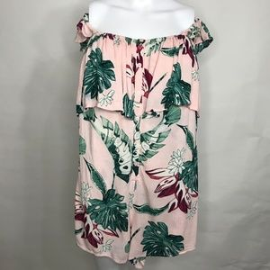 Lush Pink Romper with Floral Palm Leaves Print M